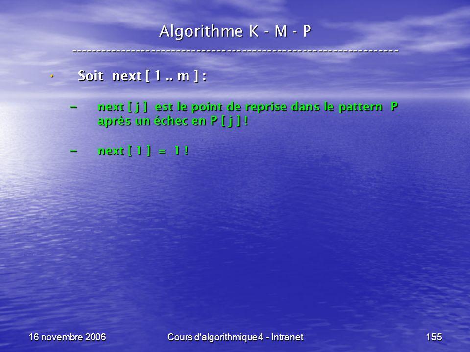 16 novembre 2006Cours d'algorithmique 4 - Intranet155 Algorithme K - M - P ----------------------------------------------------------------- Soit next