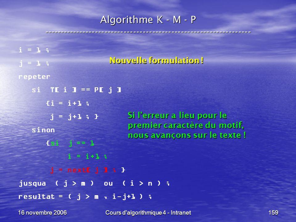 16 novembre 2006Cours d'algorithmique 4 - Intranet159 Algorithme K - M - P ----------------------------------------------------------------- i = 1 ; j