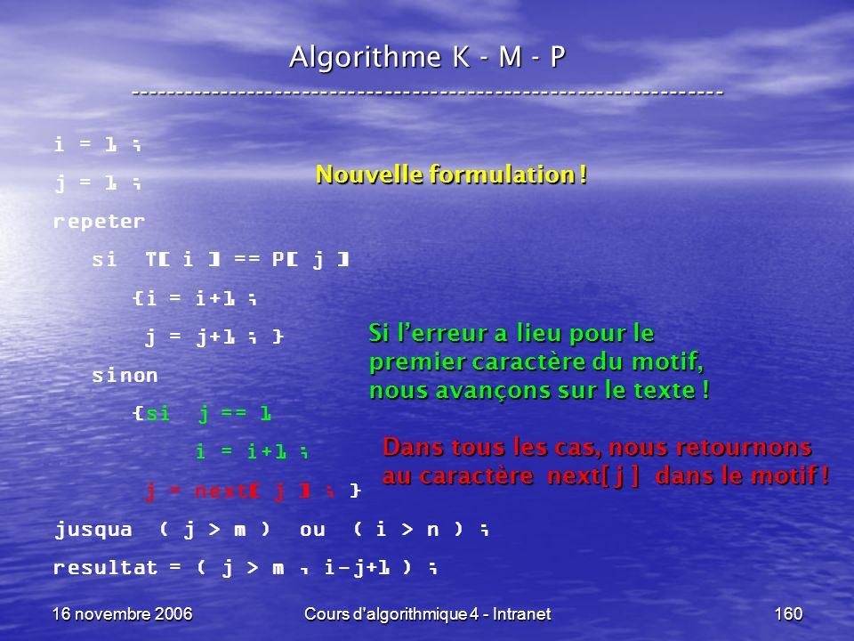16 novembre 2006Cours d'algorithmique 4 - Intranet160 Algorithme K - M - P ----------------------------------------------------------------- i = 1 ; j
