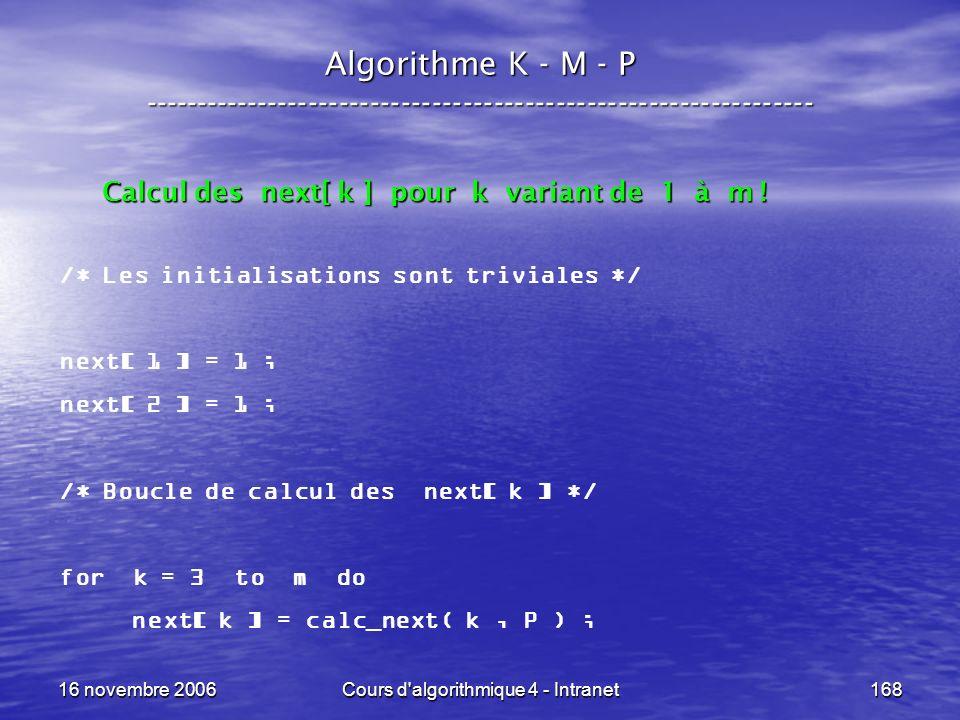 16 novembre 2006Cours d'algorithmique 4 - Intranet168 Algorithme K - M - P ----------------------------------------------------------------- /* Les in