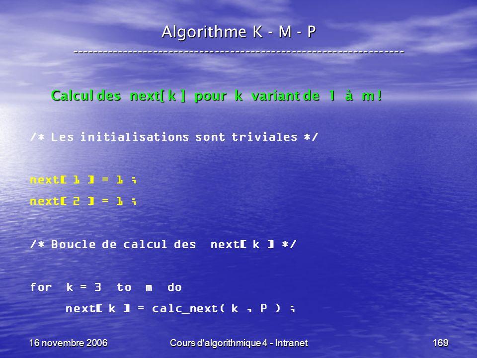 16 novembre 2006Cours d'algorithmique 4 - Intranet169 Algorithme K - M - P ----------------------------------------------------------------- /* Les in