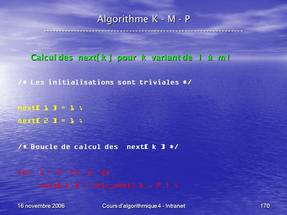 16 novembre 2006Cours d'algorithmique 4 - Intranet170 Algorithme K - M - P ----------------------------------------------------------------- /* Les in