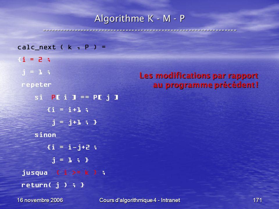 16 novembre 2006Cours d'algorithmique 4 - Intranet171 Algorithme K - M - P ----------------------------------------------------------------- calc_next