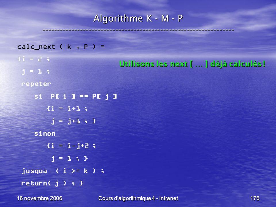 16 novembre 2006Cours d'algorithmique 4 - Intranet175 Algorithme K - M - P ----------------------------------------------------------------- calc_next