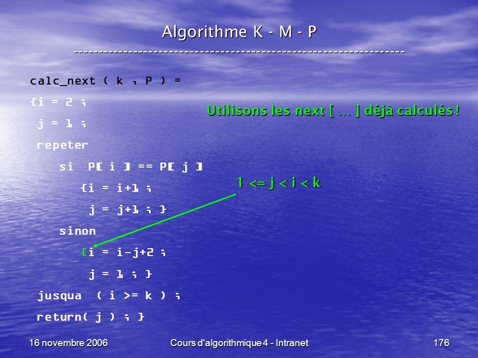 16 novembre 2006Cours d'algorithmique 4 - Intranet176 Algorithme K - M - P ----------------------------------------------------------------- calc_next