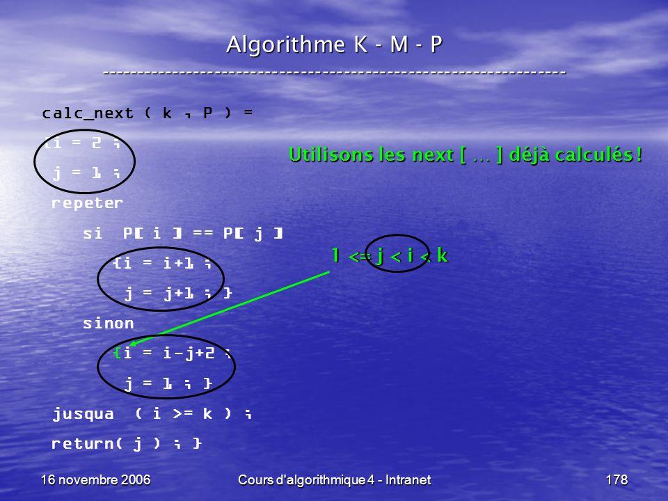 16 novembre 2006Cours d'algorithmique 4 - Intranet178 Algorithme K - M - P ----------------------------------------------------------------- calc_next