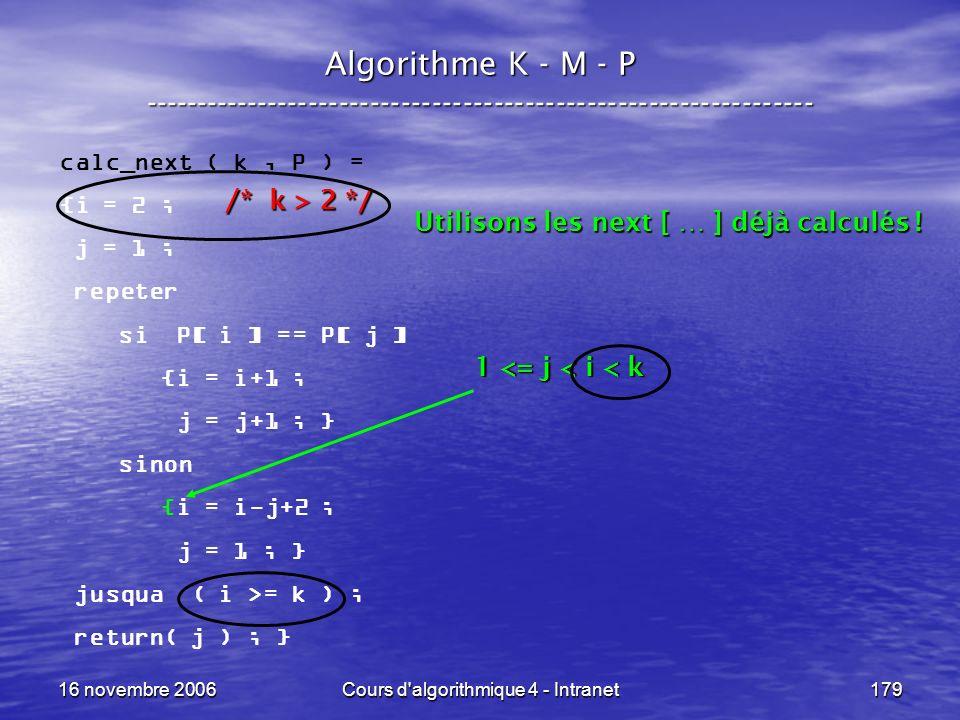 16 novembre 2006Cours d'algorithmique 4 - Intranet179 Algorithme K - M - P ----------------------------------------------------------------- calc_next