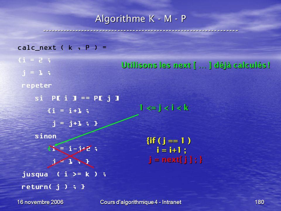 16 novembre 2006Cours d'algorithmique 4 - Intranet180 Algorithme K - M - P ----------------------------------------------------------------- calc_next