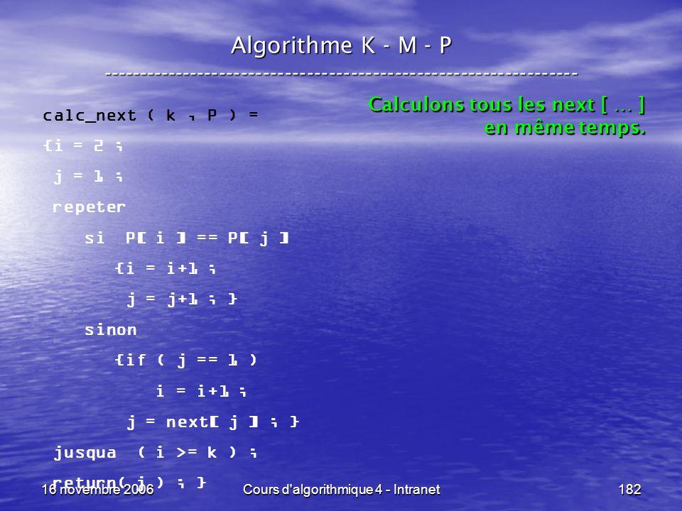 16 novembre 2006Cours d'algorithmique 4 - Intranet182 Algorithme K - M - P ----------------------------------------------------------------- calc_next