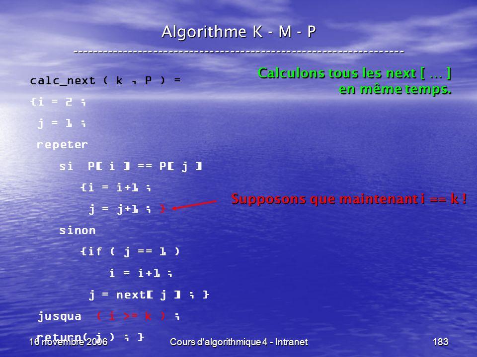 16 novembre 2006Cours d'algorithmique 4 - Intranet183 Algorithme K - M - P ----------------------------------------------------------------- calc_next