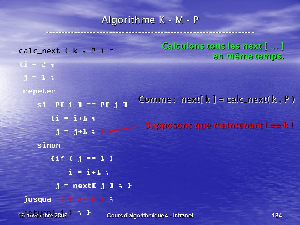 16 novembre 2006Cours d'algorithmique 4 - Intranet184 Algorithme K - M - P ----------------------------------------------------------------- calc_next