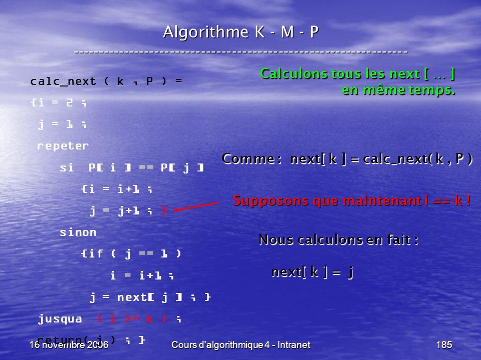 16 novembre 2006Cours d'algorithmique 4 - Intranet185 Algorithme K - M - P ----------------------------------------------------------------- calc_next