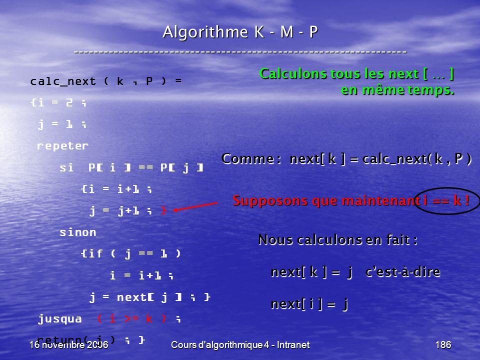16 novembre 2006Cours d'algorithmique 4 - Intranet186 Algorithme K - M - P ----------------------------------------------------------------- calc_next