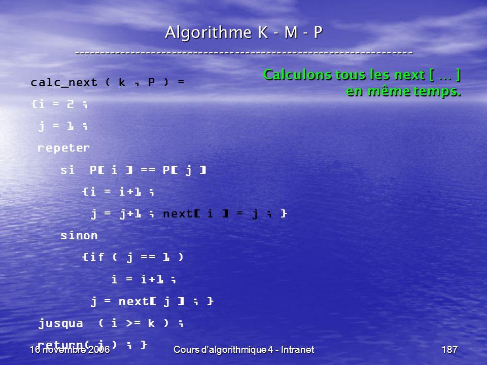16 novembre 2006Cours d'algorithmique 4 - Intranet187 Algorithme K - M - P ----------------------------------------------------------------- calc_next