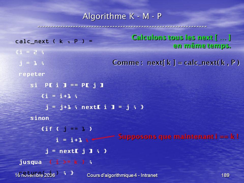 16 novembre 2006Cours d'algorithmique 4 - Intranet189 Algorithme K - M - P ----------------------------------------------------------------- calc_next