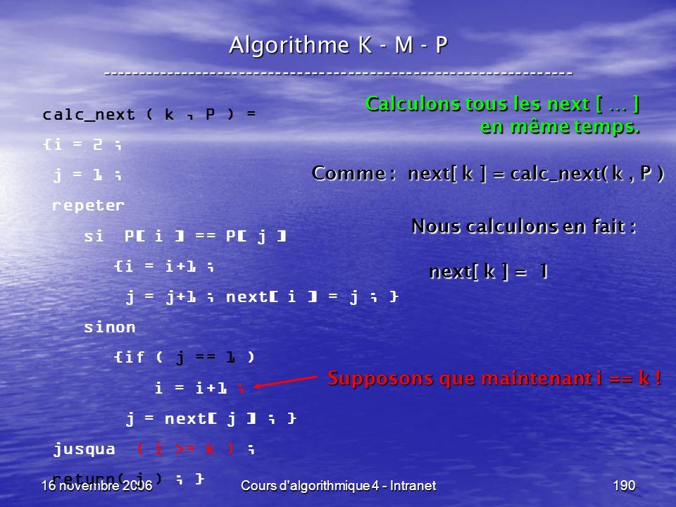 16 novembre 2006Cours d'algorithmique 4 - Intranet190 Algorithme K - M - P ----------------------------------------------------------------- calc_next