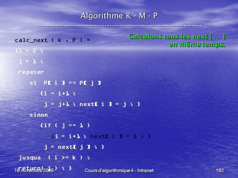 16 novembre 2006Cours d'algorithmique 4 - Intranet192 Algorithme K - M - P ----------------------------------------------------------------- calc_next