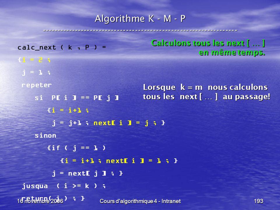 16 novembre 2006Cours d'algorithmique 4 - Intranet193 Algorithme K - M - P ----------------------------------------------------------------- calc_next