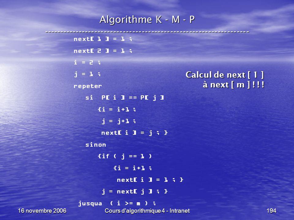 16 novembre 2006Cours d'algorithmique 4 - Intranet194 Algorithme K - M - P ----------------------------------------------------------------- next[ 1 ]