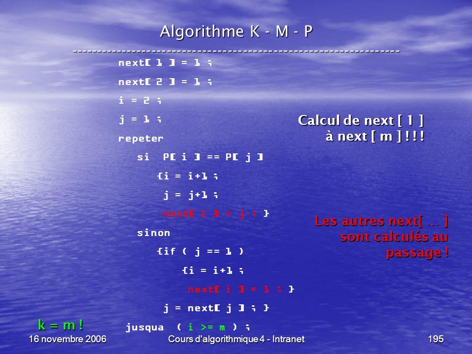 16 novembre 2006Cours d'algorithmique 4 - Intranet195 Algorithme K - M - P ----------------------------------------------------------------- next[ 1 ]