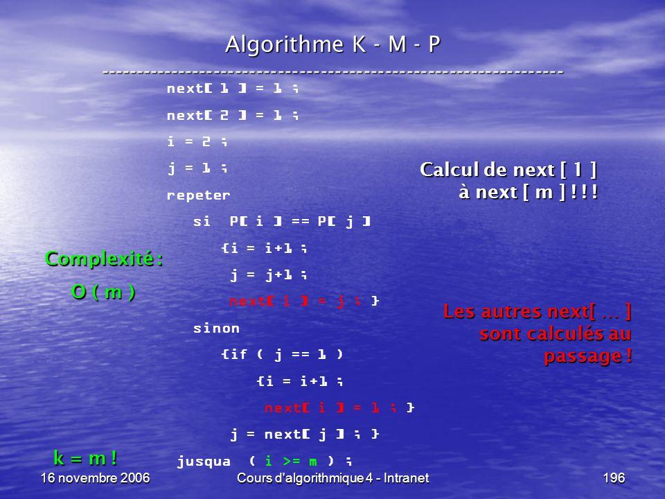 16 novembre 2006Cours d'algorithmique 4 - Intranet196 Algorithme K - M - P ----------------------------------------------------------------- next[ 1 ]