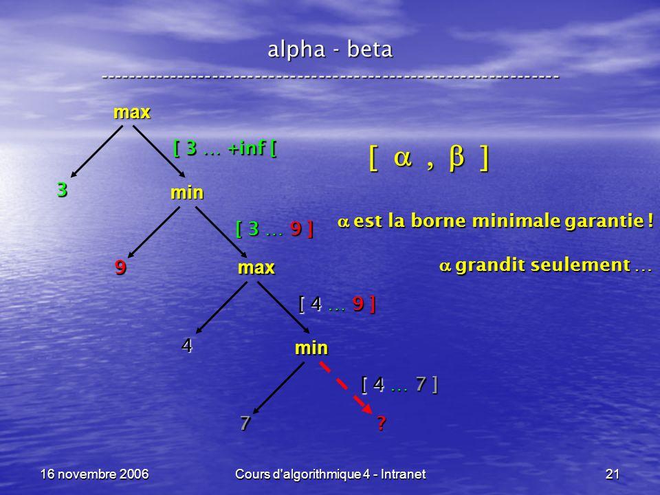 16 novembre 2006Cours d'algorithmique 4 - Intranet21 alpha - beta ----------------------------------------------------------------- max [ 3 … +inf [ m