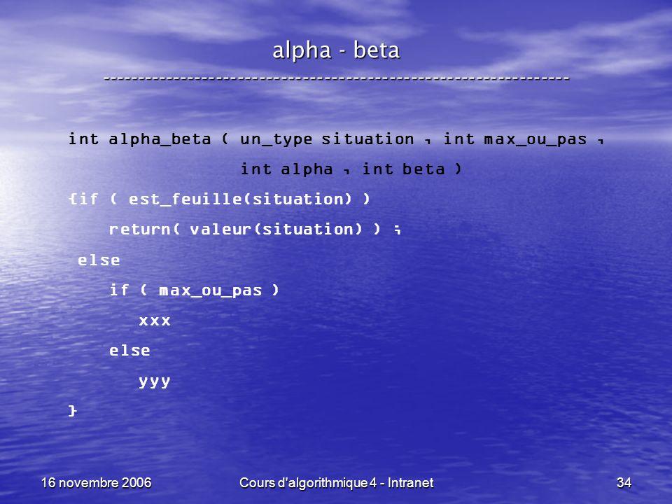 16 novembre 2006Cours d'algorithmique 4 - Intranet34 alpha - beta ----------------------------------------------------------------- int alpha_beta ( u