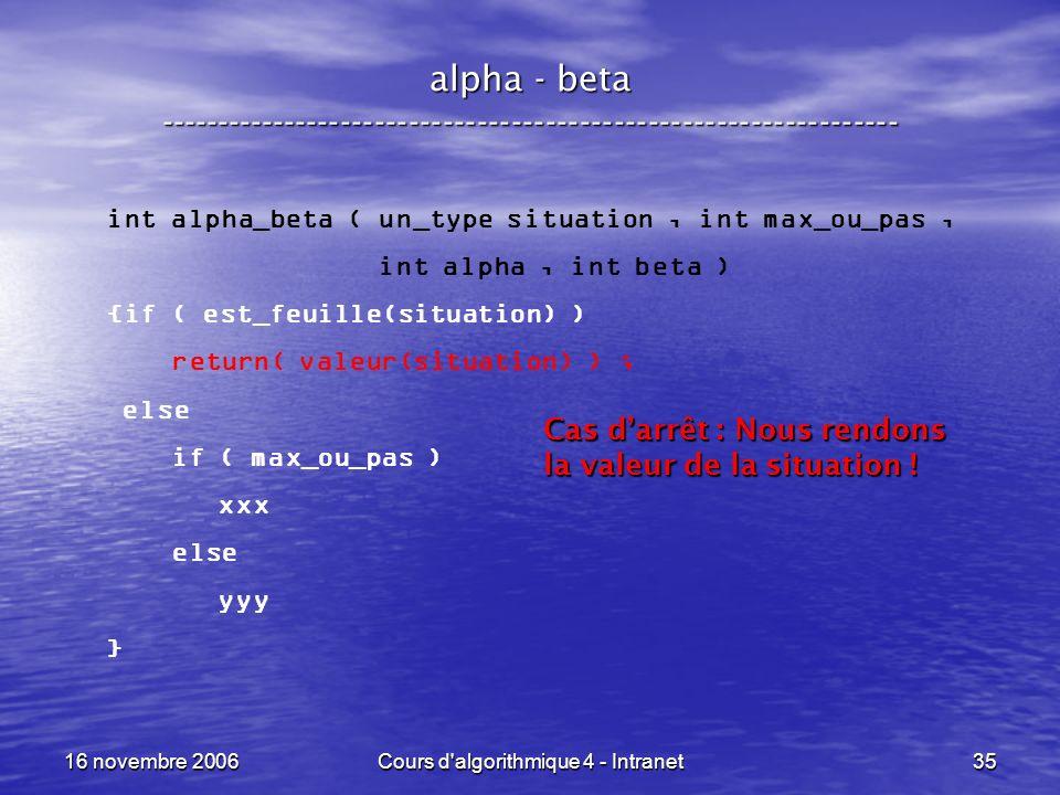 16 novembre 2006Cours d'algorithmique 4 - Intranet35 alpha - beta ----------------------------------------------------------------- int alpha_beta ( u