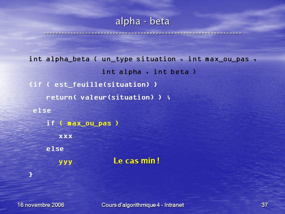 16 novembre 2006Cours d'algorithmique 4 - Intranet37 alpha - beta ----------------------------------------------------------------- int alpha_beta ( u