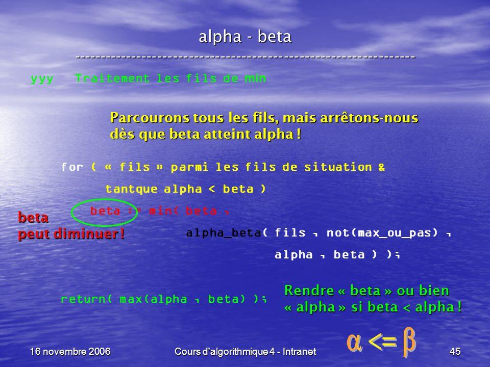 16 novembre 2006Cours d'algorithmique 4 - Intranet45 alpha - beta ----------------------------------------------------------------- yyy Traitement les