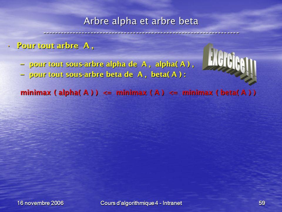 16 novembre 2006Cours d'algorithmique 4 - Intranet59 Arbre alpha et arbre beta ----------------------------------------------------------------- Pour