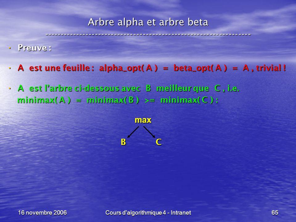 16 novembre 2006Cours d'algorithmique 4 - Intranet65 Arbre alpha et arbre beta ----------------------------------------------------------------- Preuv