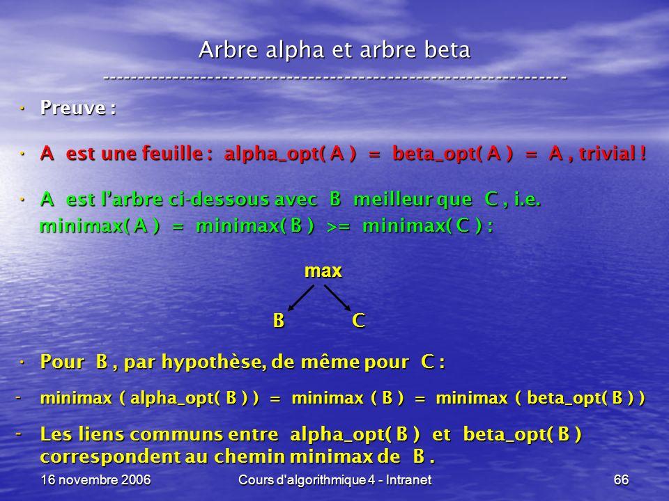 16 novembre 2006Cours d'algorithmique 4 - Intranet66 Arbre alpha et arbre beta ----------------------------------------------------------------- Preuv