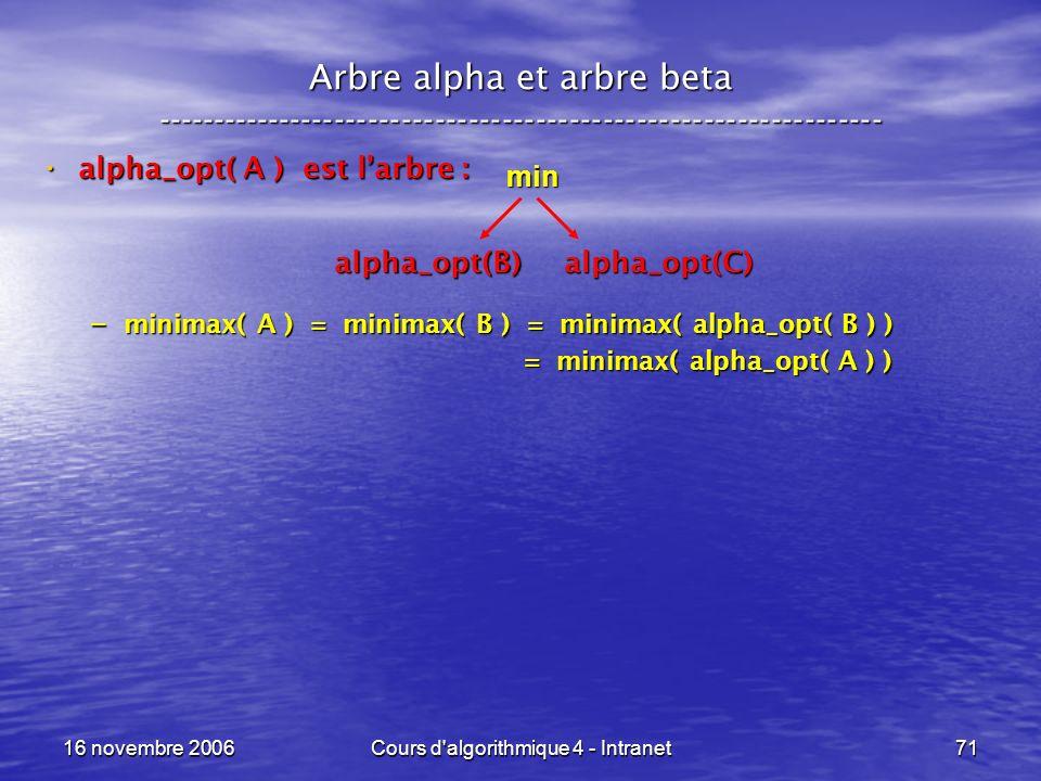 16 novembre 2006Cours d'algorithmique 4 - Intranet71 Arbre alpha et arbre beta ----------------------------------------------------------------- alpha