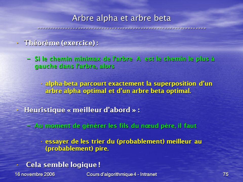 16 novembre 2006Cours d'algorithmique 4 - Intranet75 Arbre alpha et arbre beta ----------------------------------------------------------------- Théor