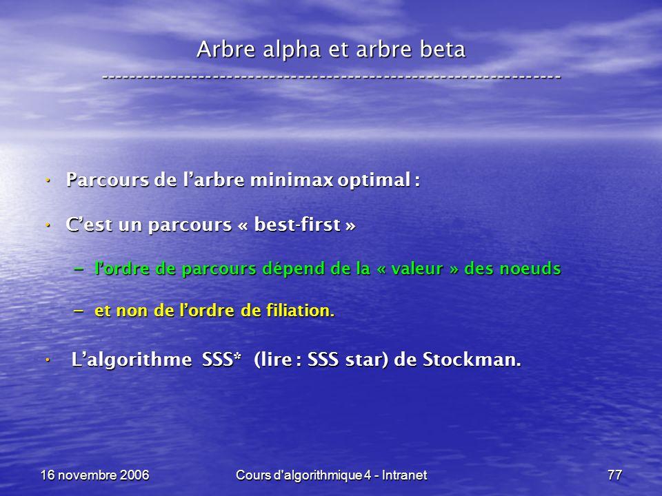 16 novembre 2006Cours d'algorithmique 4 - Intranet77 Arbre alpha et arbre beta ----------------------------------------------------------------- Parco