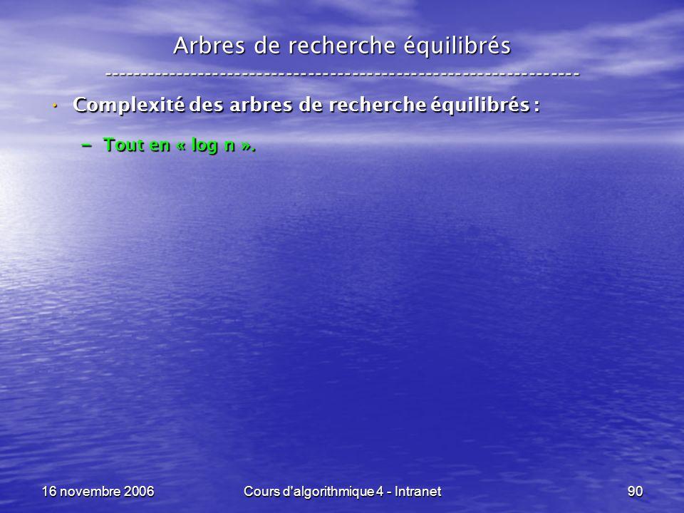 16 novembre 2006Cours d'algorithmique 4 - Intranet90 Arbres de recherche équilibrés -----------------------------------------------------------------