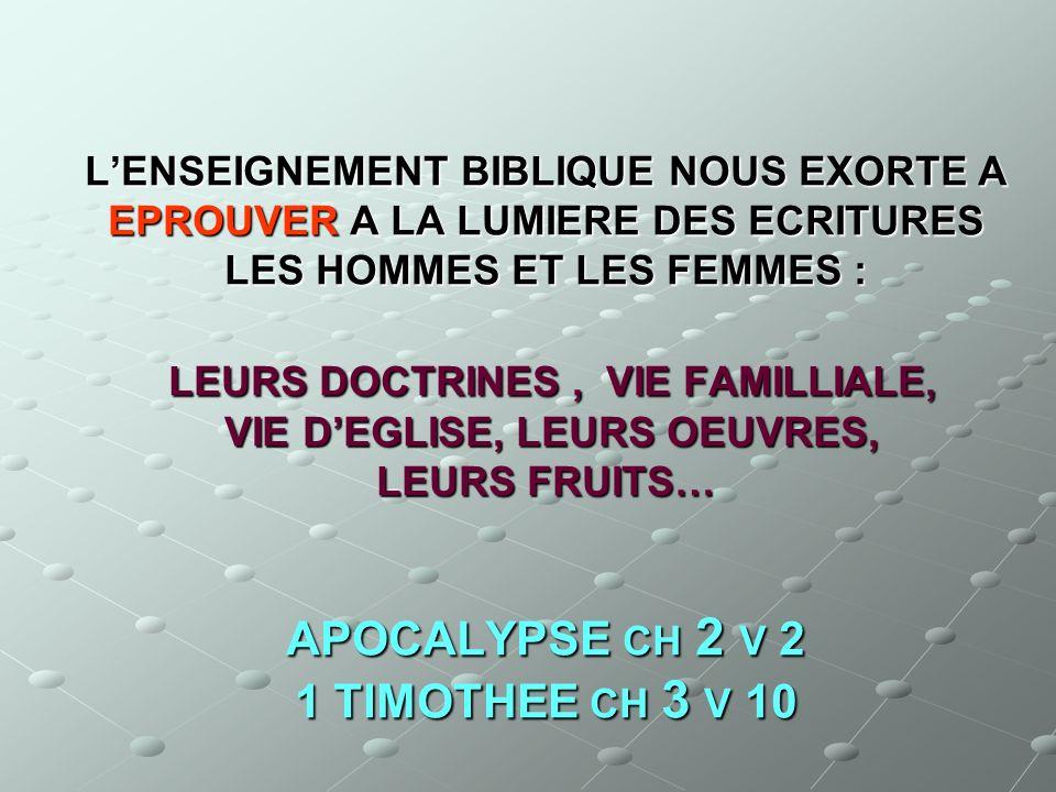 LENSEIGNEMENT BIBLIQUE NOUS EXORTE A EPROUVER A LA LUMIERE DES ECRITURES LES HOMMES ET LES FEMMES : LEURS DOCTRINES, VIE FAMILLIALE, VIE DEGLISE, LEUR