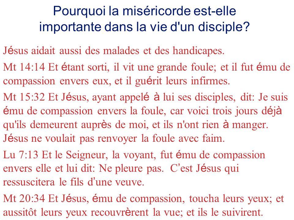 Pourquoi la miséricorde est-elle importante dans la vie d un disciple.