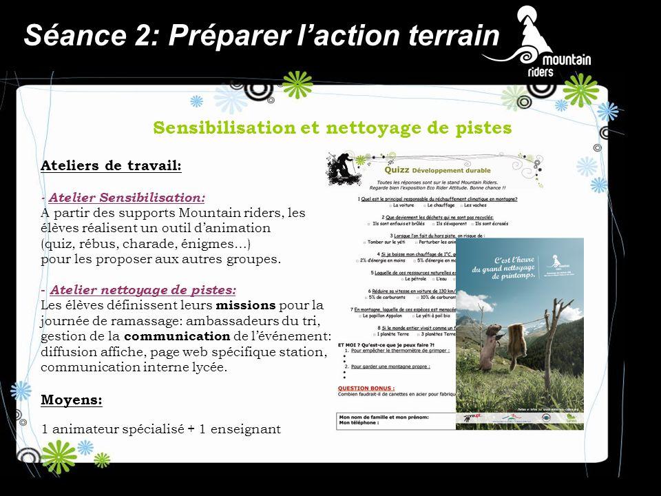 Séance 2: Préparer laction terrain Sensibilisation et nettoyage de pistes Ateliers de travail: - Atelier Sensibilisation: A partir des supports Mounta
