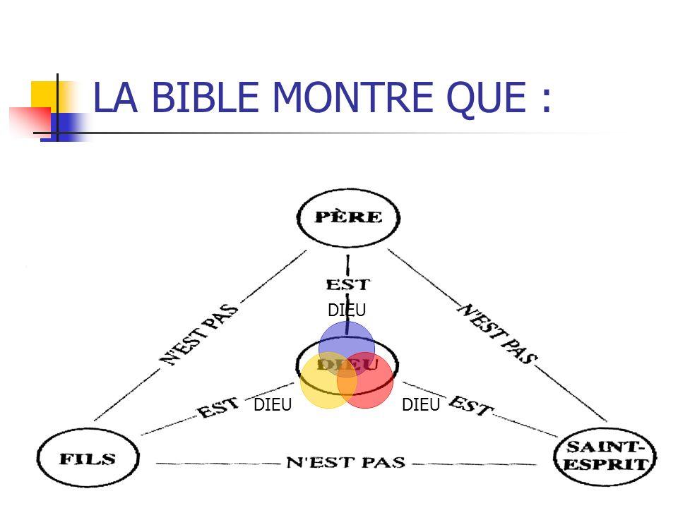LA BIBLE MONTRE QUE : DIEU