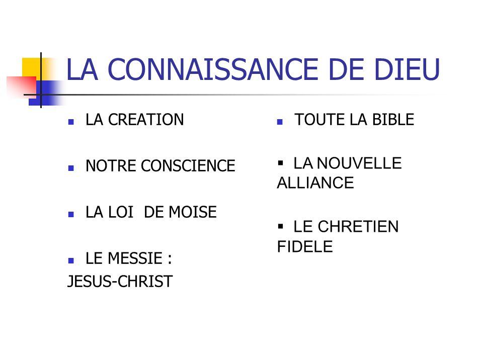 LA CONNAISSANCE DE DIEU LA CREATION NOTRE CONSCIENCE LA LOI DE MOISE LE MESSIE : JESUS-CHRIST TOUTE LA BIBLE LA NOUVELLE ALLIANCE LE CHRETIEN FIDELE