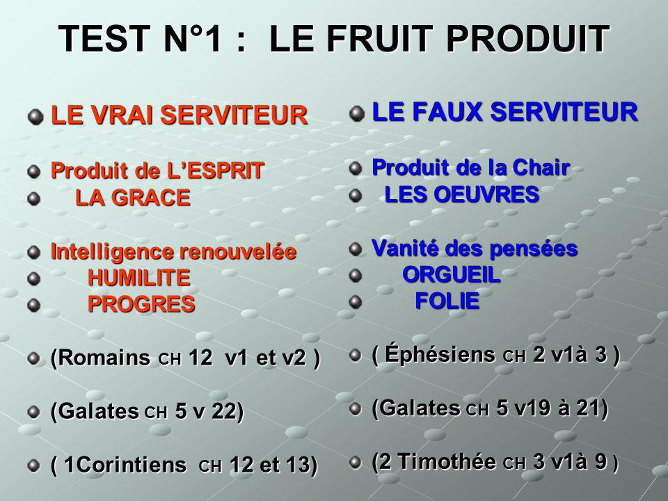 TEST N°1 : LE FRUIT PRODUIT LE VRAI SERVITEUR Produit de LESPRIT LA GRACE Intelligence renouvelée HUMILITE PROGRES (Romains CH 12 v1 et v2 ) (Galates