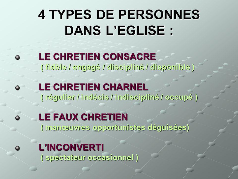 4 TYPES DE PERSONNES DANS LEGLISE : LE CHRETIEN CONSACRE LE CHRETIEN CONSACRE ( fidèle / engagé / discipliné / disponible ) ( fidèle / engagé / discip
