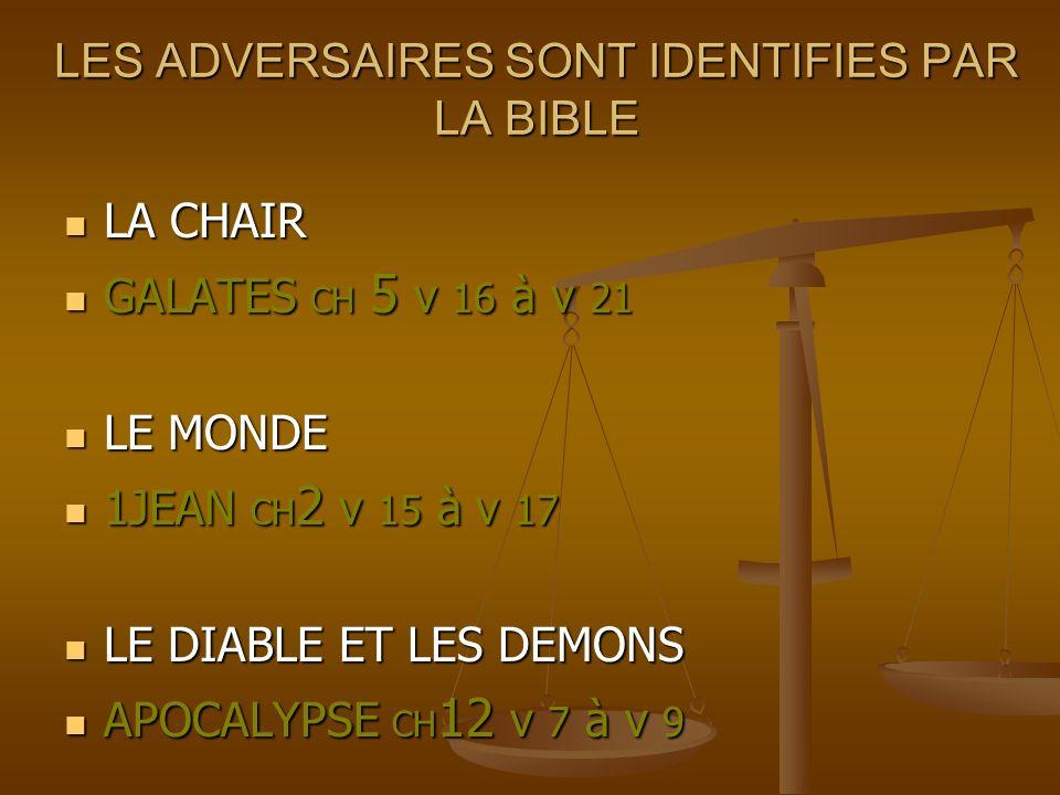 LES ADVERSAIRES SONT IDENTIFIES PAR LA BIBLE LES ADVERSAIRES SONT IDENTIFIES PAR LA BIBLE LA CHAIR LA CHAIR GALATES CH 5 v 16 à v 21 GALATES CH 5 v 16