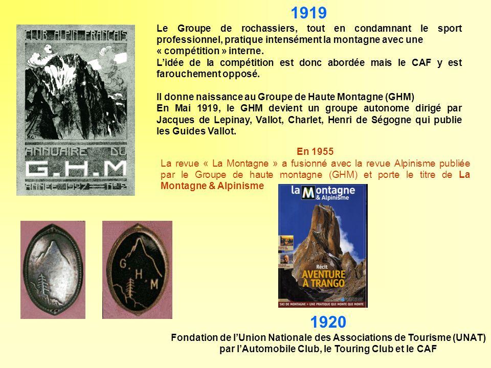 En 1955 La revue « La Montagne » a fusionné avec la revue Alpinisme publiée par le Groupe de haute montagne (GHM) et porte le titre de La Montagne & A