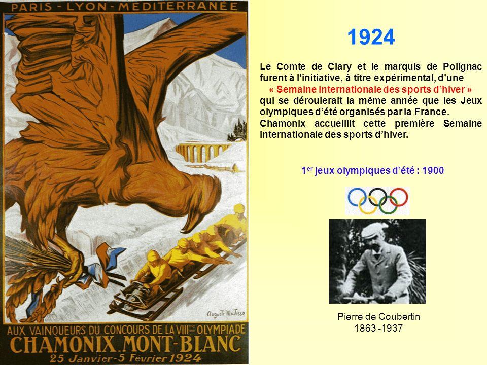 1924 Le Comte de Clary et le marquis de Polignac furent à linitiative, à titre expérimental, dune « Semaine internationale des sports dhiver » qui se