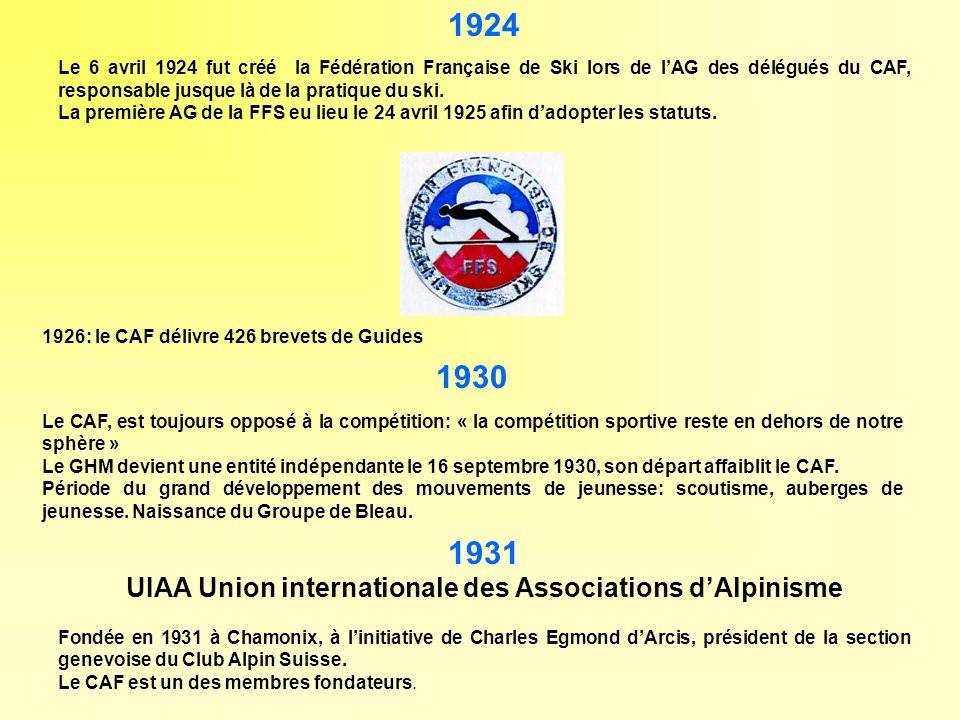 1924 Le 6 avril 1924 fut créé la Fédération Française de Ski lors de lAG des délégués du CAF, responsable jusque là de la pratique du ski. La première