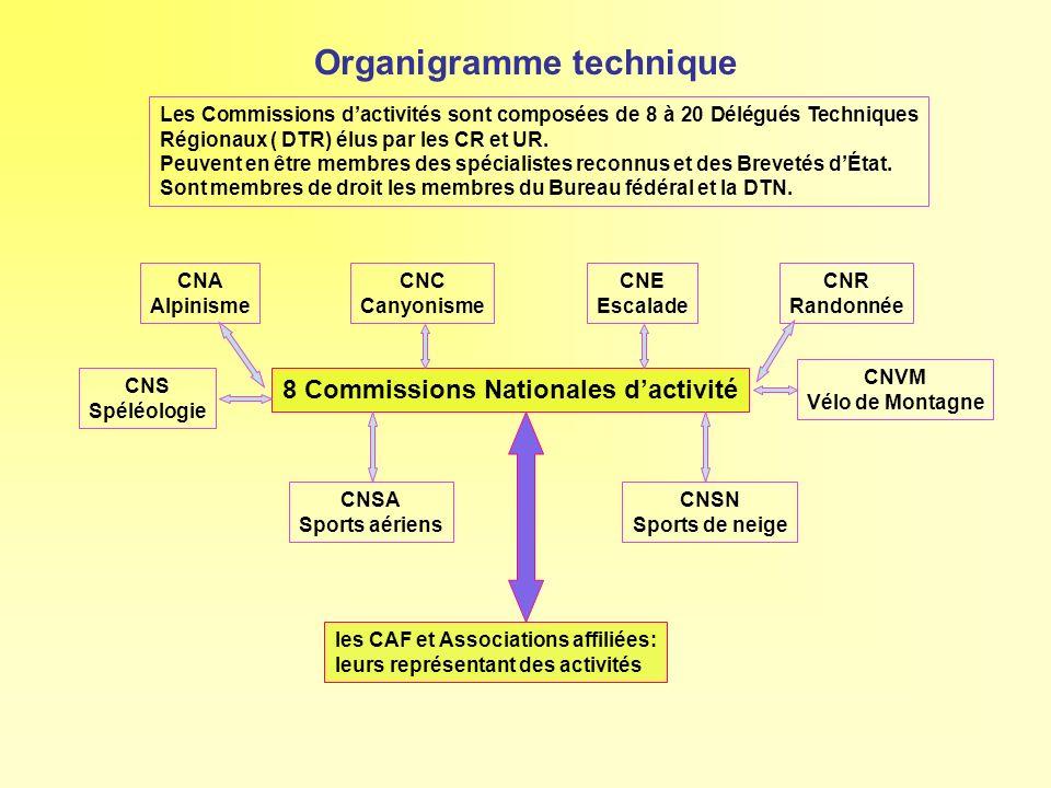 Organigramme technique 8 Commissions Nationales dactivité CNA Alpinisme CNC Canyonisme CNE Escalade CNR Randonnée CNS Spéléologie CNSA Sports aériens
