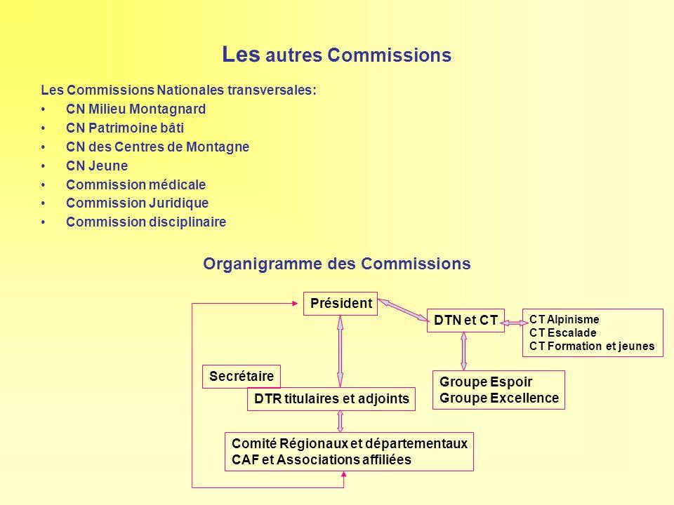 Les autres Commissions Les Commissions Nationales transversales: CN Milieu Montagnard CN Patrimoine bâti CN des Centres de Montagne CN Jeune Commissio